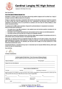 Absence Request Form   Term Time Leave Of Absence Request Form Cardinal Langley Rc High